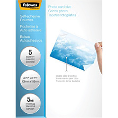 Fellowes Self-Adhesive Pouches - Photo, 5mil, 5 Pack
