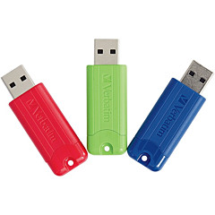 Verbatim 128GB PinStripe USB 3.0 Flash Drive - 3pk - Red, Green, Blue